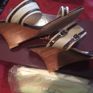 EUC Cole Haan Cecelia Linen ChocCroc Leather Wedge